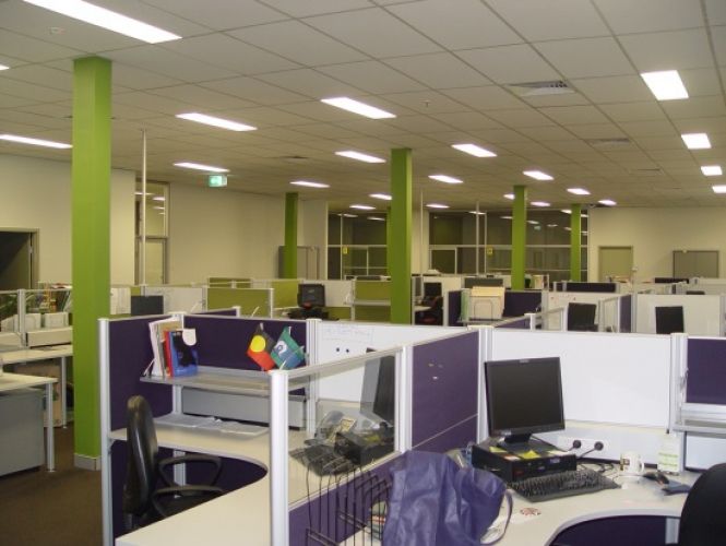 Oxfam office fitout workstation clusters