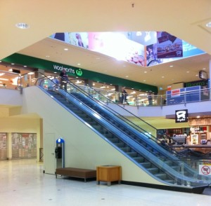 MarketPlace Leichhardt new escalators leading to Woolworths