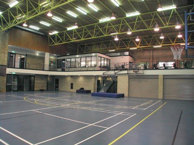 Sydney Grammar gym - steel framed office structure on mezzanine