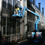 Victoria Barracks installation of mesh sunscreen