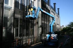 Victoria Barracks installation of mesh sunscreen