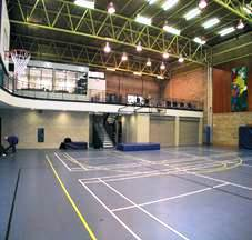 New mezzanine area with office above school gym