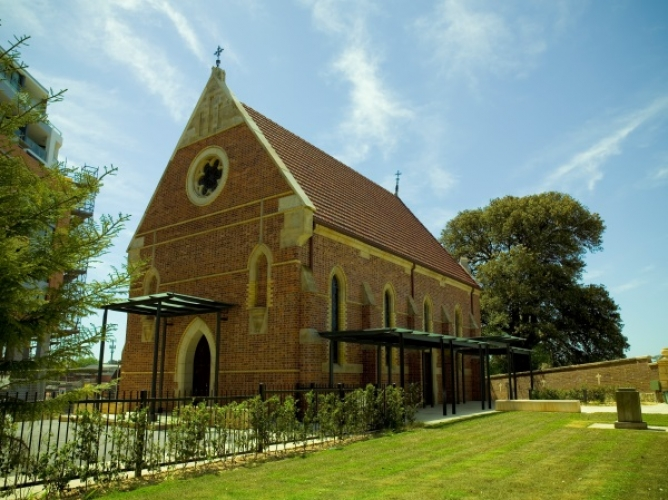 Front view of St Magdalen's Chapel at Tempe House